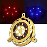 Anauto 12V LED Motorcycle Fan Cover Aluminum W/Decorative Flashing Light for GY6 100/125/150cc red, Gold(Gold)