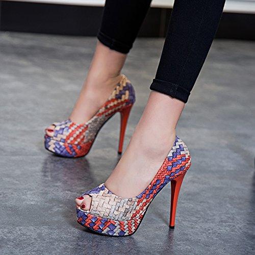 khskx-fish boca tacones finos zapatos sexy zapatos de noche de mesa impermeable talón único zapatos gules