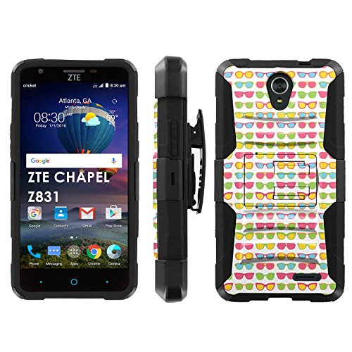 ZTE Chapel Z831 Phone Cover, Sunglasses- Black Blitz Hybrid Armor Phone Case for [ZTE Chapel Z831] with [Kickstand and - Chapel Sunglasses