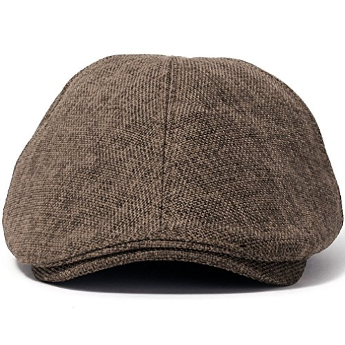 ililily Linen-like Flat Cap Cabbie Hat Gatsby Ivy Irish Hunting Stretch Newsboy (XL, Brown) (Waxed Cotton Irish Cap compare prices)