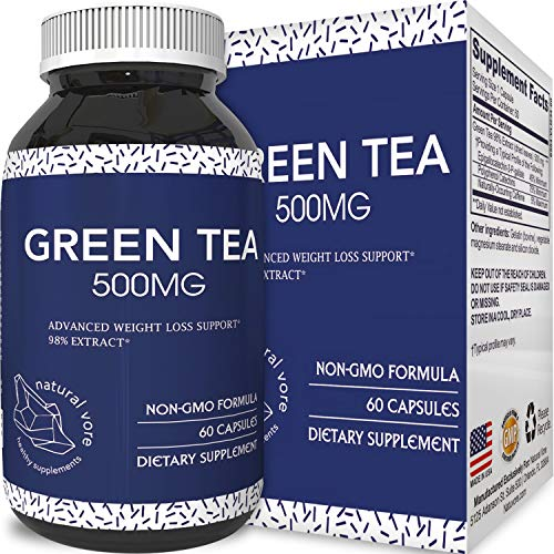 Natural Antioxidant Green Tea Extract – Pure 500 mg Fat Burner Capsules – EGCG Catechins Promote Healthy Heart – Best Caffeine for Weight Loss – Bodybuilding + Metabolism Pills by Natural Vore For Sale