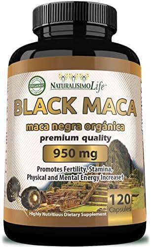 Organic Black Maca 1,900 mg per Serving Natural Energy Booster Peruvian Maca for Men & Women 120 Capsules
