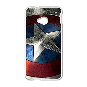 Custom Captain America Shield Pattern Hard Back Case Cover for HTC One M7