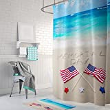 Gwein Beautiful Beach Memorial Day American Flag Shower Curtain Polyester Fabric Mildew Proof Waterproof Cloth Shower Room Decor Shower Curtains 66x72