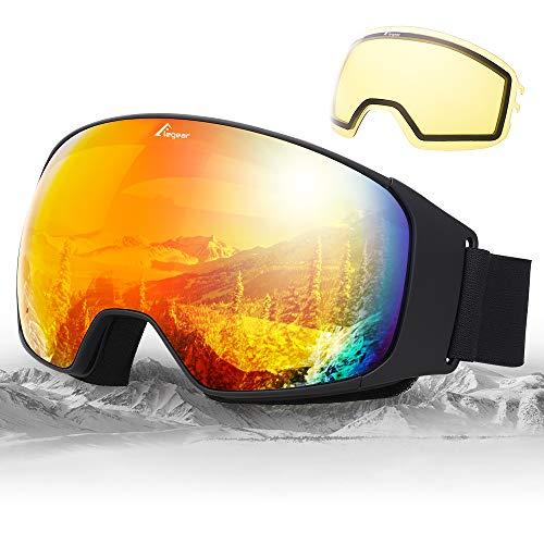 Elegear Snow Glasses Snowboard Ski Goggles - UV400 Ski Glasses Dual Layers Lens for Anti Fog - Interchangeable Snow Goggles Skiing Equipment for Men Women Youth Kids Winter Outdoor Sport Snowmobile