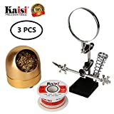 Kaisi Helping Hands Station with Magnifying Glass Lead-Free 0.3mm Solder Wire Soldering Tip Cleaner Soft Brass Ball Wire, Solder Accessory 3 in 1 Kit for Electronics Soldering, Craft Projects, Hobby