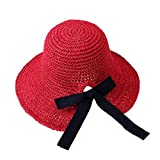 2019 New !Women's Soft Bow Handmade Foldable Rear Split Strap Hat Fisherman Farmer Spring Summer Outdoor Straw Hat (Red)