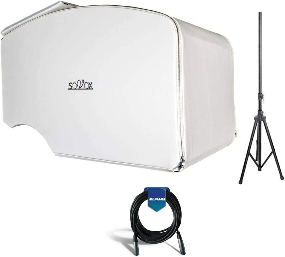 ISOVOX Portable Mobile Vocal Studio Booth, White - Bundle With 20' Heavy Duty 7mm Rubber XLR Microphone Cable, Pyle PSTND25 6ft Tripod Speaker Stand