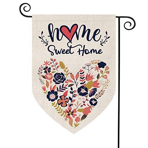 AVOIN Home Sweet Home Garden Flag Vertical Double Sided Floral Love Heart, Navy Blue Flower Rustic Modern Farmhouse Burlap Yard Outdoor Decoration 12.5 x 18 Inch