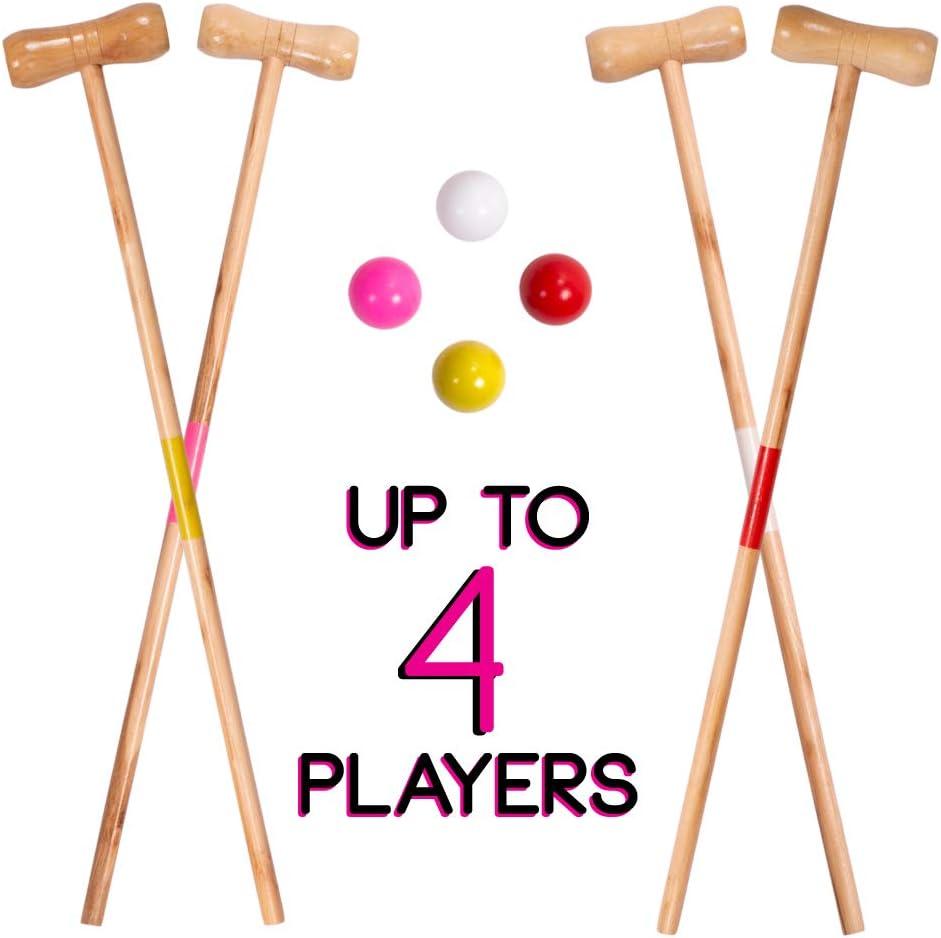 Includes Bonus Storage Bag! CSG Deluxe Childrens Size Croquet Wooden Play Set
