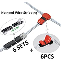 GRIVER Quick Splice Wire Connectors,Mid-span Branching Wire Connectors,No Need Wire-stripping (6PCS T Type 2-Pin + 12PCS Terminal Connectors, Suitable for 22-18AWG Wires)