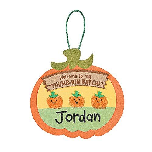 Fun Express - Thumbprint Pumpkin Patch ck for Halloween - Craft Kits - Ornament Craft Kits - Non Foam - Halloween - 12 Pieces