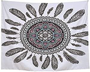 DreamCatcher Home Decoration Tapestry Wall Hanging Dream Catcher Wall Tapestry Hippie Colorful Tapestry Psychedelic Bohemian Feather Printed Beach Towel Yoga Mat Table Cover for Bedroom Decor