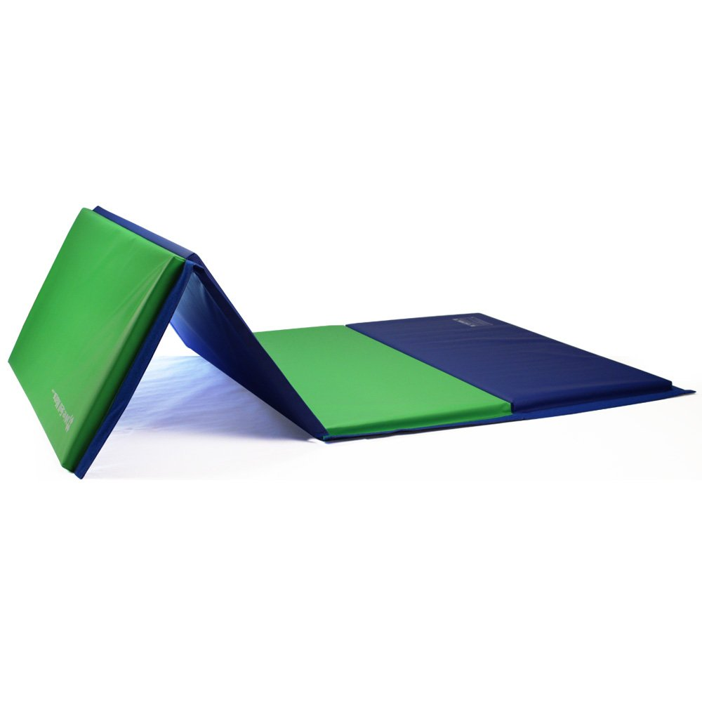 We Sell Mats Gymnastics Tumbling Exercise Folding Martial Mat with Hook/Loop Fasteners, Blue/Lime Green, 1.5'' by We Sell Mats (Image #5)