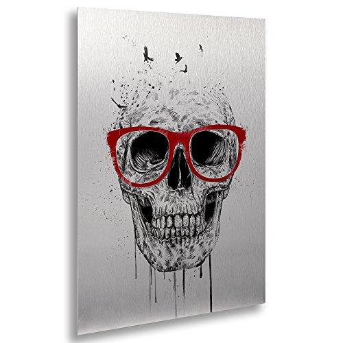 "Trademark Fine Art ALI1376-1622M Floating Brushed Aluminum Skull with Red Glasses by Balazs Solti Framed Artwork, 16"" x 22"" from Trademark Fine Art"