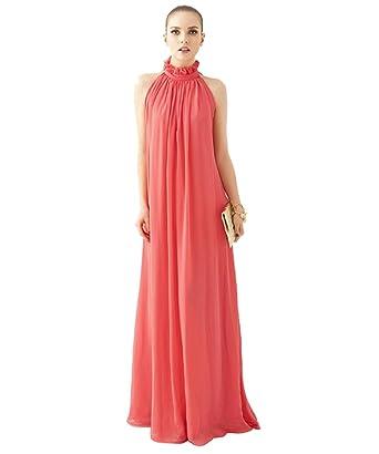 Medeshe Coral Pink Chiffon Sundress Beach Wedding Bridesmaid Maxi ...