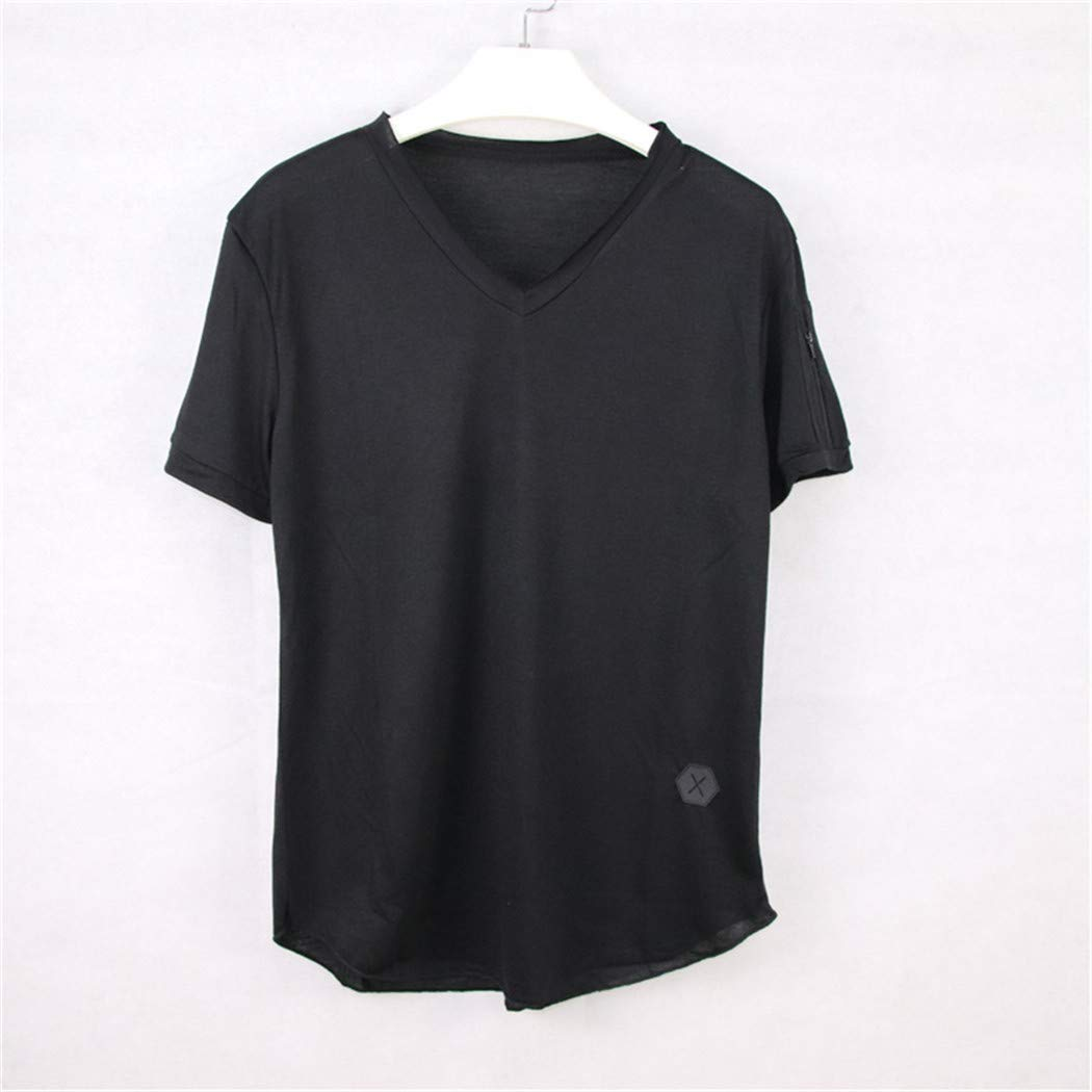 Guige Men Casual Short Sleeve V-Neck Cotton Tshirts Tops Tees Plus Size