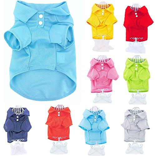 """Cute Puppy Cat Dog Polo Shirt T-Shirt Solid Clothes Apparel for Small Pet (S: Length - 12"""", Blue Light)"""