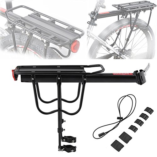 Best Price! Blackpoolfa Rear Bike Rack with Accessories by Aluminum Alloy Bicycle Cargo Rack 132lbs ...