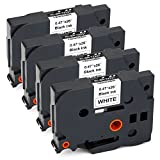#7: JARBO TZE231 Compatible Brother TZE-231 Label Tape Black on White, 4 Packs, 0.47 Inch x 26.2 Feet ( 12mm x 8m ), Used for Brother P-Touch PT-D210 PT-D200 PT-D400AD PT-D600 PT-H100 PT-P700 Label Marker
