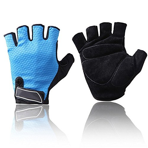 SUPOW® Half Finger Gloves, Unisex Outdoor Cycling Bike Riding Mountain Climbing Multi-Sport Mitten Microfiber Gel Padded Fingerless Gloves For Men Women (Size L) (Blue Fingerless Gloves)