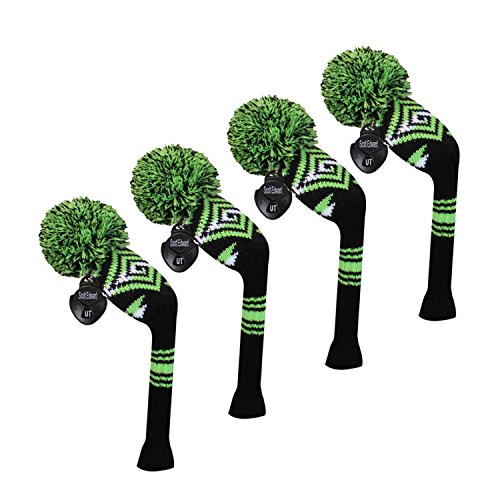Scott Edward Golf Hybrid/Utilities Club Head Covers, 4 Pieces Packed, Abstract Pattern, Acrylic Yarn Double-Layers Knitted, with Rotatable Number Tags, 4 Colors Optional (Green)