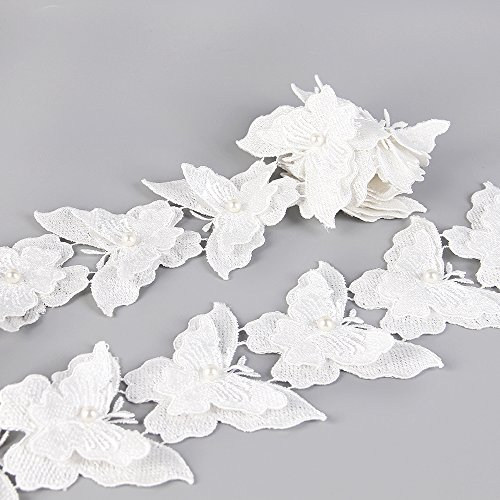 5 Yards Organza Double Layer Butterfly Lace Trim Applique with Pearl Sewing DIY Craft Lace for Festival Wedding Party Birthday Bridal Shower Decoration and DIY Handmade Accessories (White(Cotton))