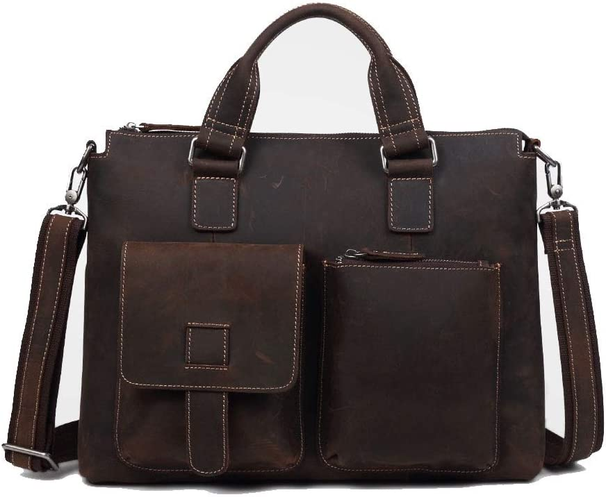 Color : Deep Caffeine, Size : S Lydianzishangwu Real Cow Leather Mens Daily Handbag Popular Laptop Tote Bags Vintage Genuine Leather Business Trip Briefcase