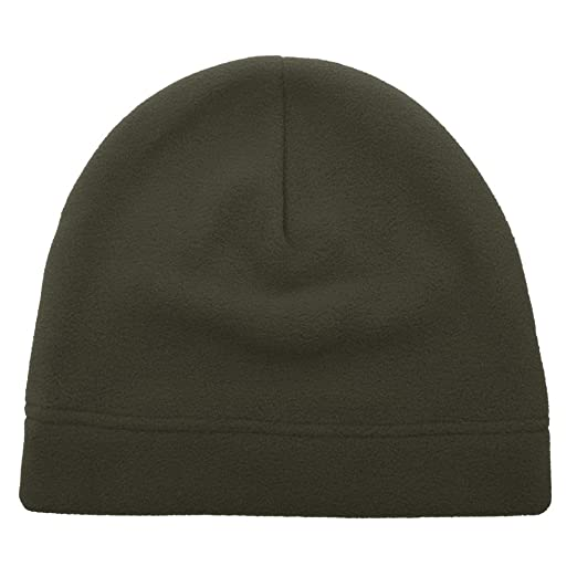 Opromo Men s Fleece Beanie Hat Soft Warm Winter Windproof Under Helmet  Skull Cap Army Green 1fe6c64bddd