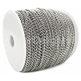 CleverDelights Curb Chain Spool - 3x5mm Link - Antique Silver (Platinum) Color - 330 Feet - Bulk Chain