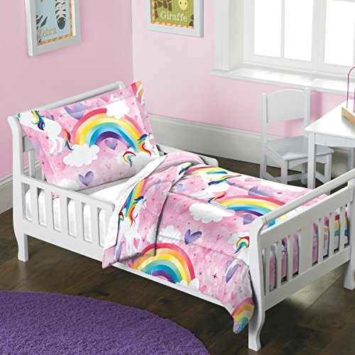 Enchanted Twin Comforter - 2 Piece Girls Kids Rainbow Pink Unicorn Comforter Toddler Size Set, Beautiful Vibrant Enchanted Bedding Cloud White Red Green Blue Purple Magical Themed White Horse Fantasy, Reversible Pink Cotton