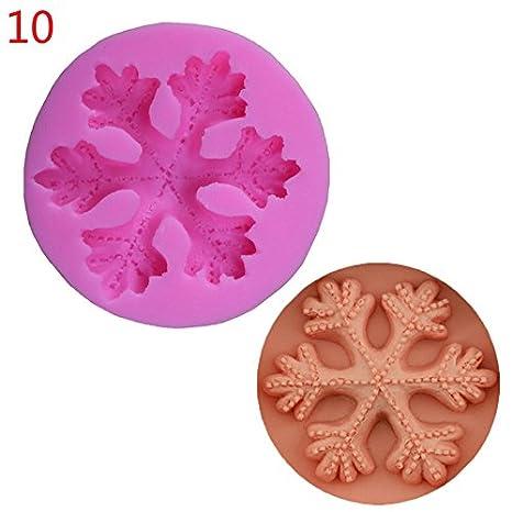 Hosaire Navidad copo de nieve molde de silicona formas de pastel Fondant moldes de decoración de