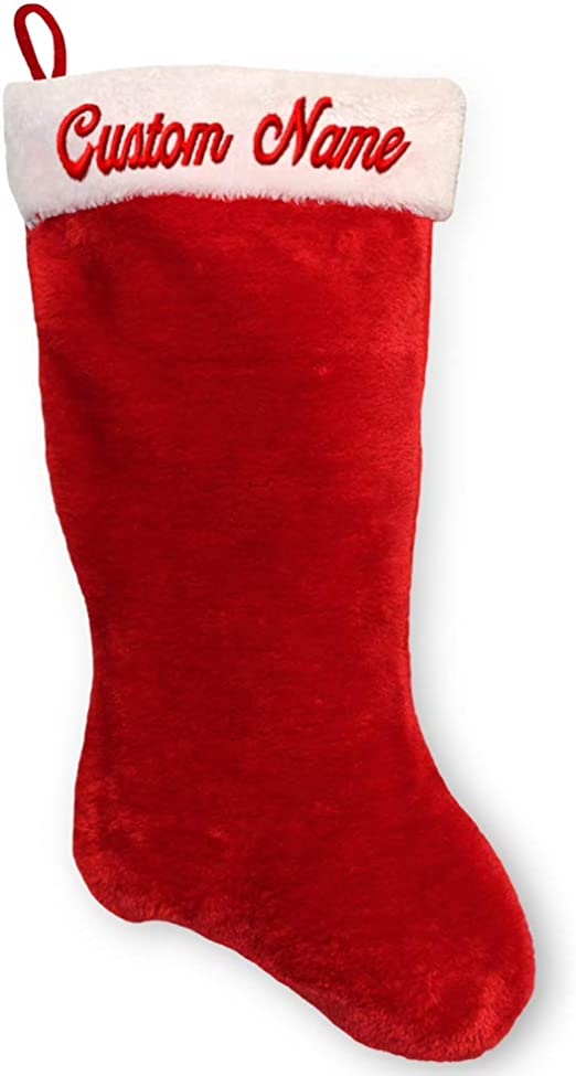 CHRISTMAS STOCKING MONOGRAMMED  NAMES SANTA SOCKS PLUSH RED OR GREEN EMBRODIERY