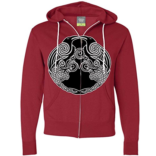 Dual Raven Two Tone Zip-Up Hoodie - Red Medium (What Does Red Roses Represent)