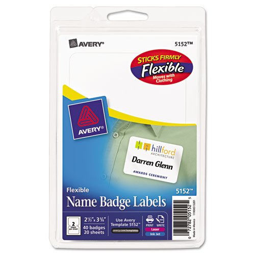 Avery Flexible Self-Adhesive Laser/Inkjet Name Badge Labels, 2-1/3 x 3-3/8, WE, 40/Pk Avery Dennison Peel