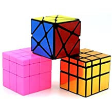 Heddi Magic Speed Cube Puzzle Transformers Mirror Cubes -Glod/Pink 3*3*3 Brain Teaser Puzzle Cube Bundle Box Pack