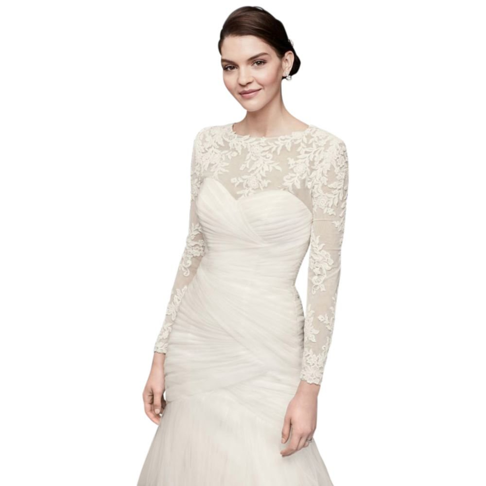 David's Bridal Embroidered Lace Long-Sleeve Dress Topper Style OW2006 David's Bridal