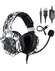 ONIKUMA K8 3.5mm Gaming Headset Stereo Over-ear Headphones RGB LED Lights Noise-canceling Microphone Volume Control for PS4 New Xbox One PC Computer Laptop