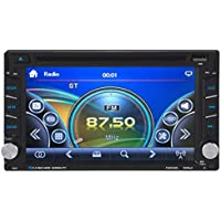 Ruhiku GW GPS Navigation HD Double 2 DIN Car Stereo DVD Player Bluetooth Radio MP3 In Dash + Camera, Black