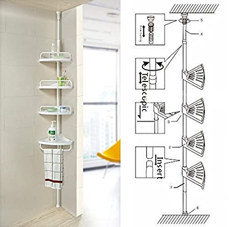 Non Rust Bathroom Telescopic Corner Shelf Storage 4 Tier Shower Caddy  Organiser (White)