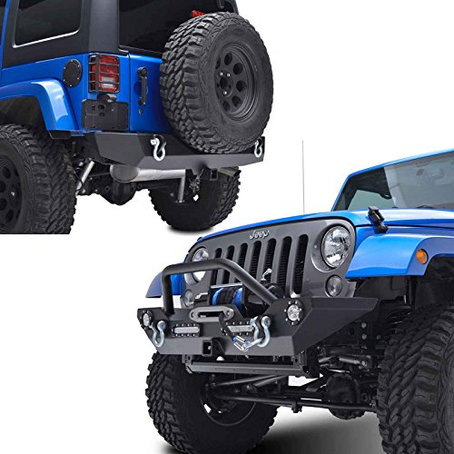 EAG 07-18 Jeep Wrangler JK Rock Crawler Front Bumper with LED Lights Hitch Receiver and Rear Bumper with 2'' Hitch Receiver (2' Front Receiver Hitch)