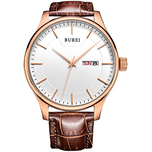 BUREI Men Fashion Ultra-Thin Quartz Watch Analog Dial with Day Date Rose Gold Stainless Steel Case Brown Leather - Band Fancy Watch Mens