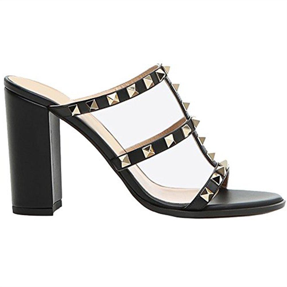 Chris-T Chunky Heels for Womens Studded Slipper Low Block Heel Sandals Open Toe Slide Studs Dress Pumps Sandals 5-14 US B07DH7RBCB 9 M US|Black 10cm