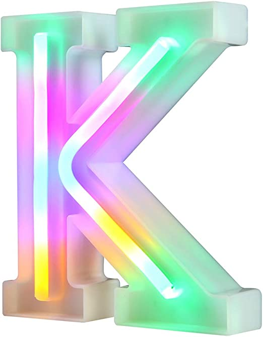 WARMTHOU Neon Letter Lights 26 Alphabet Letter Bar Sign Letter Signs for Wedding Christmas Birthday Partty Supplies,USB/Battery Powered Light Up Letters for Home Decoration-Colourful K