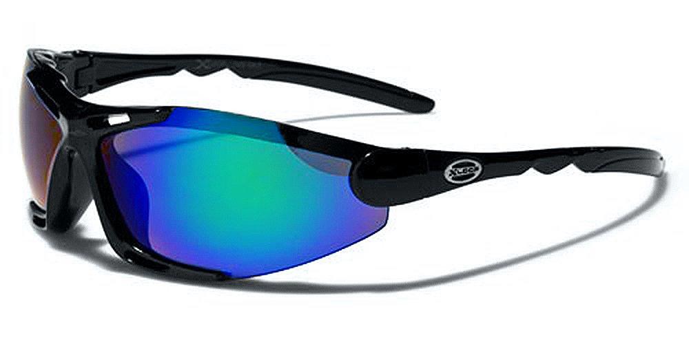 X-Loop Lunettes de Soleil - Sport - Cyclisme - Ski - Vtt - Running - Trail - Moto - Tennis / Mod Blade Noir Bleu Vert Iridium Miroir fC0u5PvE