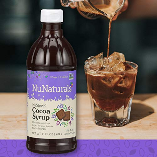 NuNaturals NuStevia Sugar-Free Cocoa Syrup Natural Stevia Sweetener with 0 Calories, 0 Sugar, 0 Carbs (16 oz)