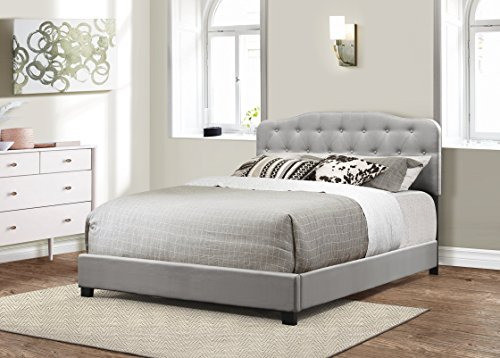 Furniture World Upholstered Footboard and Side Rails, King, Gray (Headboard Sold (Full Size King Size Footboard)