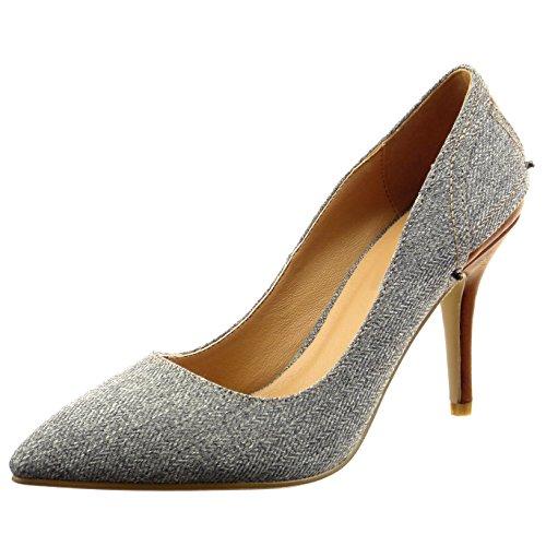 Sopily - Chaussure Mode Escarpin Decolleté Stiletto Cheville femmes finition surpiqûres coutures Lignes Talon haut aiguille 9.5 CM - Gris