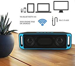 Portable Bass Dual Stereo Speaker Wireless Bluetooth Speaker Support Handsfree FM Radio AUX USB TF Card Mic for IOS Android Phone (Blue&Black)