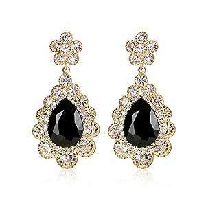 Miraculous Garden Gold Chandelier Teardrop Dangle Earrings Cubic Zirconia Crystal Wedding Jewelry (Gold Black)
